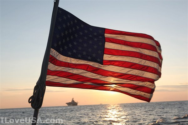 American Flag at sea