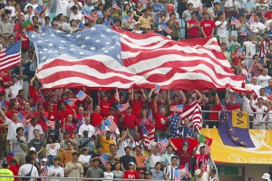 USA fans with flag