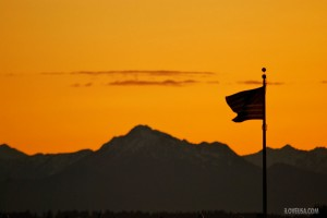 The American Flag at Dusk